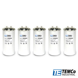 Temco 100 Uf mfd 370 440 Vac Volts Round Run Capacitor 50 60 Hz lot 5