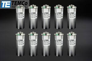Temco 50 5 Mfd Uf Dual Run Capacitor 370 440 Vac Volts 10 Lot Ac Motor Hvac 50 5