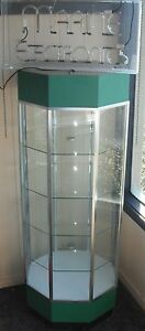 Octagon Glass Display Case With Electric Neon Light Green Top And Base Generic
