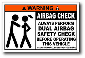 Funny Warning Airbag Check Decal Bumper Sticker