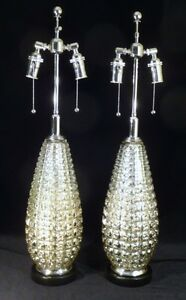 Pair Mid Century Mercury Teardrop Geometric Retro Vintage Regency Table Lamps