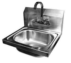 Wall Mount Hand Sink Stainless Steel 16 x15 W no Lead Faucet