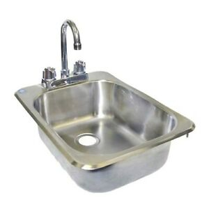 Drop in Hand Sink Stainless Steel 13 x17 no Lead Faucet