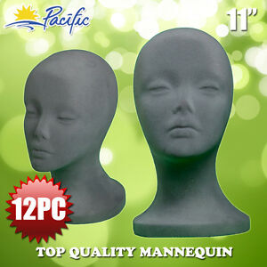 11 Styrofoam Foam Grey Velvet Mannequin Manikin Head Display Wig Hat Glasses