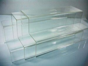 Set Of 3 Clear Acrylic 2 tier Steps Display Riser Stand 10 X 4 75 Wholesales