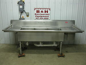 96 Stainless Steel 3 Bowl 18 X 22 Compartment Sink W 2 Drain Boards 8