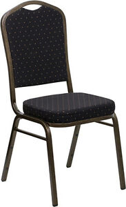 Banquet Chair Black Patterned Fabric Restaurant Chair Crown Back Stacking