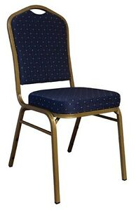 Banquet Chair Navy Blue Dot Patterned Fabric Restaurant Chair Crown Back Stack