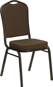 Banquet Chair Brown Patterned Fabric Restaurant Chair Crown Back Stacking