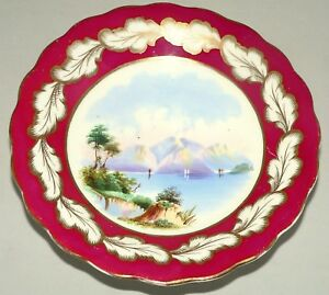 Compote Porcelain Comport English Scenic Lake Mountains Gilt 9 Dia C1860