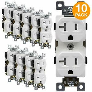 Enerlites 20a Commercial Grade Tr Duplex Receptacle Outlet White 10 Pack