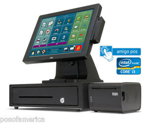 Amigo Pos Restaurant bar Pizza Retail All in one I3 Pos System One Station New