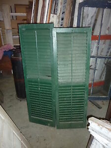 Pr Victorian Louvered Exterior House Window Shutters Green Paint 57