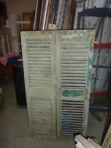 Pair Victorian Fixed Louvered House Window Shutters Light Green 61 X 16 5