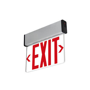 Red Led Emergency Exit Light Sign Edge Lit Battery Backup Ul924 Fire Code Elsmr
