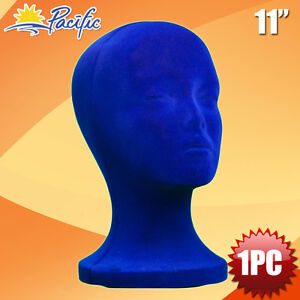11 Styrofoam Foam Blue Mannequin Manikin Head Display Wig Hat Glasses