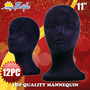 12pcs 11 Styrofoam Foam Black Velvet Mannequin Manikin Head Display Wig