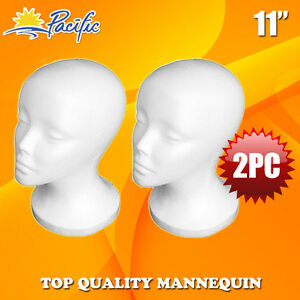 2 Pcs 11 Styrofoam Foam Mannequin Manikin Head Wig Display Hat Glasses
