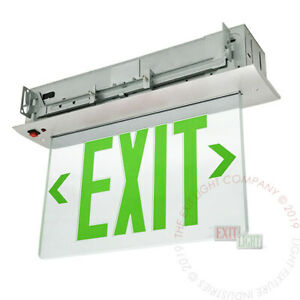 Green Led Emergency Exit Light Sign Recessed Edge Lit Battery Backup Alum Elrg