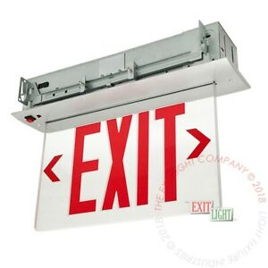 Red Led Emergency Exit Light Sign Recessed Edge Lit Battery Backup Alum Elrr