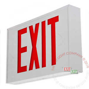 Red Led Emergency Exit Light Sign Standard White Steel Battery Backup Exstrw