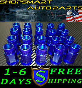 M12x1 25 Mm Blue Steel Tuner Lug Nut Set 20 Pcs Lugnuts