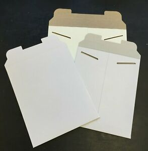 50 12 75 X 15 White No Bend Paperboard Tab Lock Rigid Photo Document Mailer