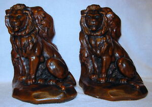 Jennings Brothers Lion The Mouse Antique Book Ends C Vieth Jb1516 Rare