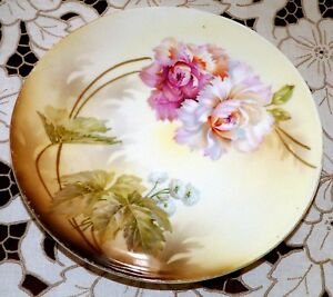 Plate Rs Germany Porcelain Green Wreath Mark Peony 8 25 Early 1900
