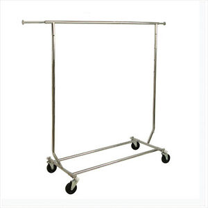 Collapsible Single Bar Rolling Garment Rack Clothing Display rcs 1