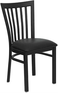 Black School House Metal Restaurant Chair With Black Vinyl Seat
