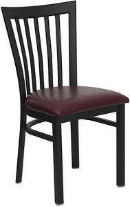 Black School House Metal Restaurant Chair With Burgundy Vinyl Seat