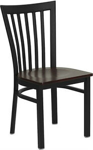 Black School House Metal Restaurant Chair With Mahogany Wood Seat