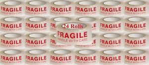 24 Rolls 2 2 Mil 2 X 110yds 330 Ft Fragile Handle With Care Clear Shipping Tape