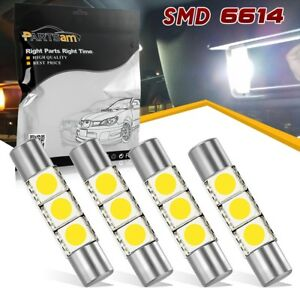 4x Visor Vanity Mirror Lights Makeup Light White 3 Smd 6641 6614f Fuse Led