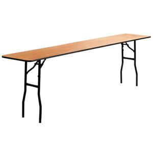 18 x 96 Wood Folding Training Seminar Table With Smooth Clear Coated Finish
