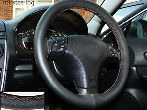 For Toyota Venza 08 12 Real Italian Leather Steering Wheel Cover Beige Stitching