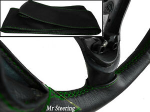 For Toyota Venza 08 12 Real Black Leather Steering Wheel Cover Green Stitch