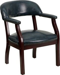 Navy Vinyl Luxurious Conference Guest Reception Chair Office Side Chair