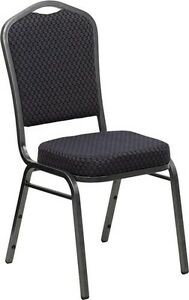 Banquet Chair Black Patterned Fabric Restaurant Chair Crown Back Stacking Chair