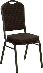 Banquet Chair Brown Patterned Fabric Restaurant Chair Crown Back Stacking Chair