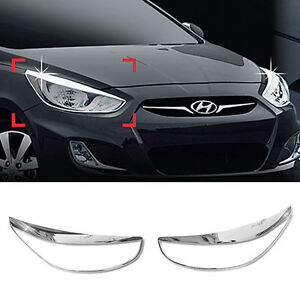 Chrome Head Lamp Garnish Molding B722 For Hyundai 2011 2018 Accent Verna Solaris