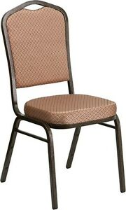 Banquet Chair Gold Diamond Patterned Fabric Restaurant Chair Crown Back Stacking