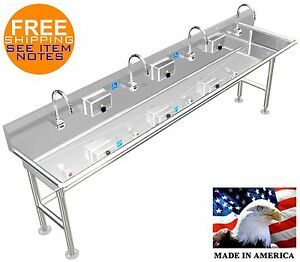 Ada Hand Wash Sink 4 Station 96 Electronic Faucet Free Standing Stainless Steel