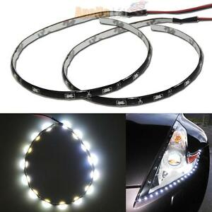 2x Flexible White 12 Inches 30cm 15 Smd Led Side Shine Strip Lights Drl 31