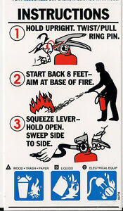 Abc Fire Extinguisher Pictorial Operating Sign 3 X 5 1 4 New