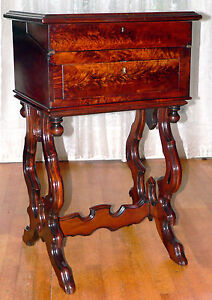 Work Stand Desk Night Stand Renaissance Victorian Figured Walnut 34t C1870