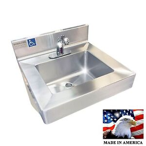 Ada Hand Sink Electronic Faucet Heavy Duty Stainless Steel 304 Made In America