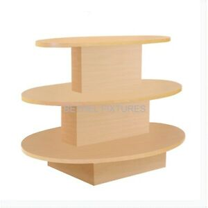 Multi Purpose 3 Tier Oval Maple Wooden Display Table W3t m