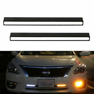 2xultra Slim Switchback White Amber Lights Led Daytime Running Fog Lamps Drl Kit